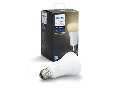 Philips Hue 461004 10W Dimmable LED Smart Hub Required, Works with Alexa, HomeKit & Google Assistant Hue White Ambiance Single A19 Bulb, 1