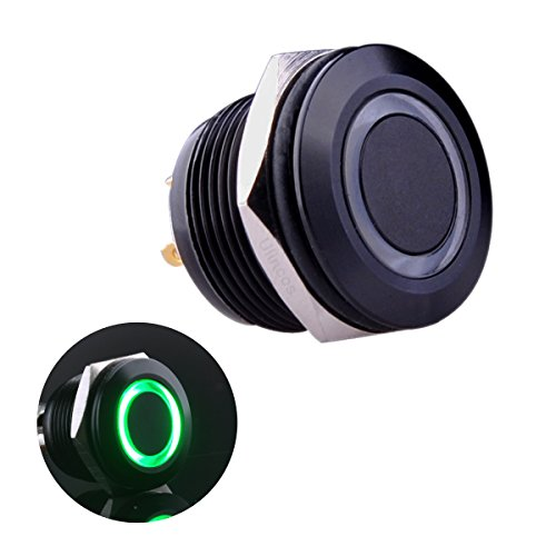 Ulincos Momentary Pushbutton Switch U19D1 1NO SPST Black Metal Shell with Green LED Ring Suitable for 19mm 3/4' Mounting Hole Pack with a Resistor (Green)