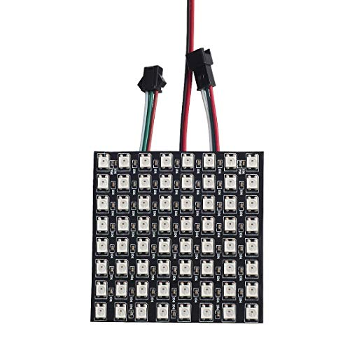 BTF-LIGHTING WS2812B ECO RGB Alloy Wires 5050SMD Individual Addressable 8X8 256 Pixels LED Matrix Panel Flexible FPCB Full Color Works with K-1000C,SP107E,etc Controllers Image Video Text Display DC5V