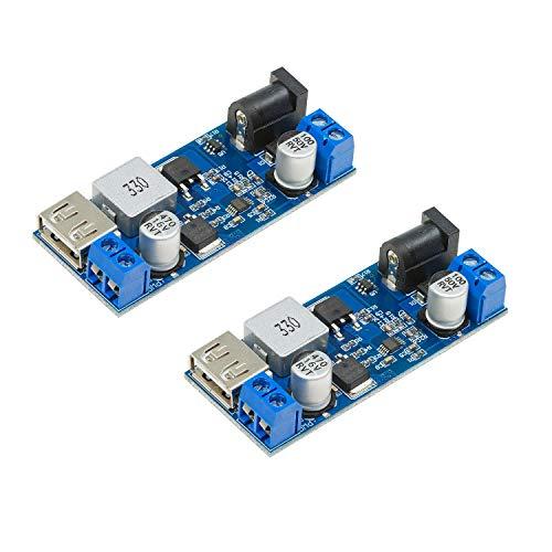 UCTRONICS DC 6V 9V 12V 24V to DC 5V 5A Buck Converter Module, 9-36V Step Down to USB 5V Transformer Dual Output Voltage Regulator Board [2 Pack]