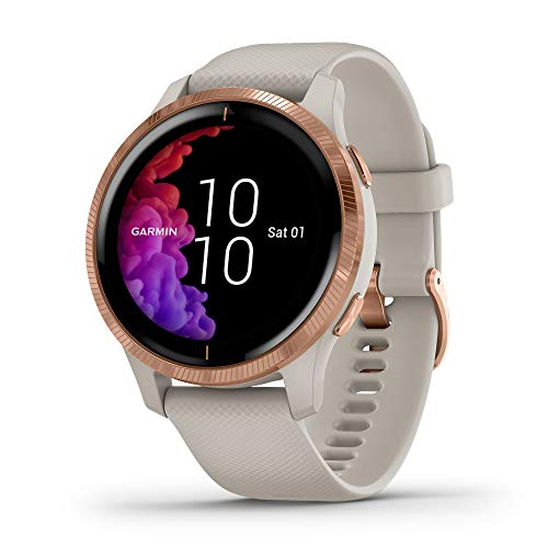 Garmin Venu, GPS Smartwatch with Bright Touchscreen Display, Features Music, Body Energy Monitoring, Animated Workouts, Pulse Ox Sensor and More, Rose Gold with Tan Band