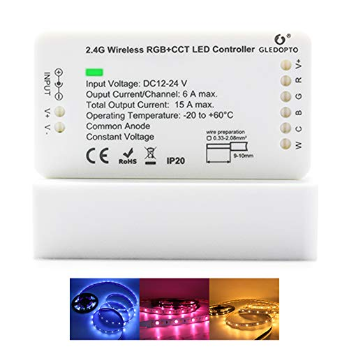 GLEDOPTO ZigBee LED Strip Controller RGB CCT 1ID Dimmable Compatible with Hue Bridge SmartThings Amazon Echo Plus App/Voice Control for RGB Warm White Cold White LED Strip Light (Require ZigBee Hub)