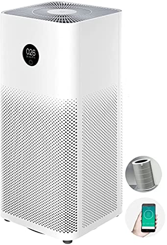 Xiaomi Mi Air Purifier 3C, 3-Stage H13 True HEPA filter Eliminates 99.97% Smoke Smokers Dust Pollen Pet dander & Odors, Wifi & Smart Home Integration, Whisper Quiet 31dBa Operation, for up to 410 sqft Spaces, Bedroom Home Office Study Nursery Guestrooms