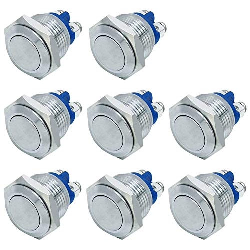 FICBOX 16mm metal momentary push button (pack of eight)