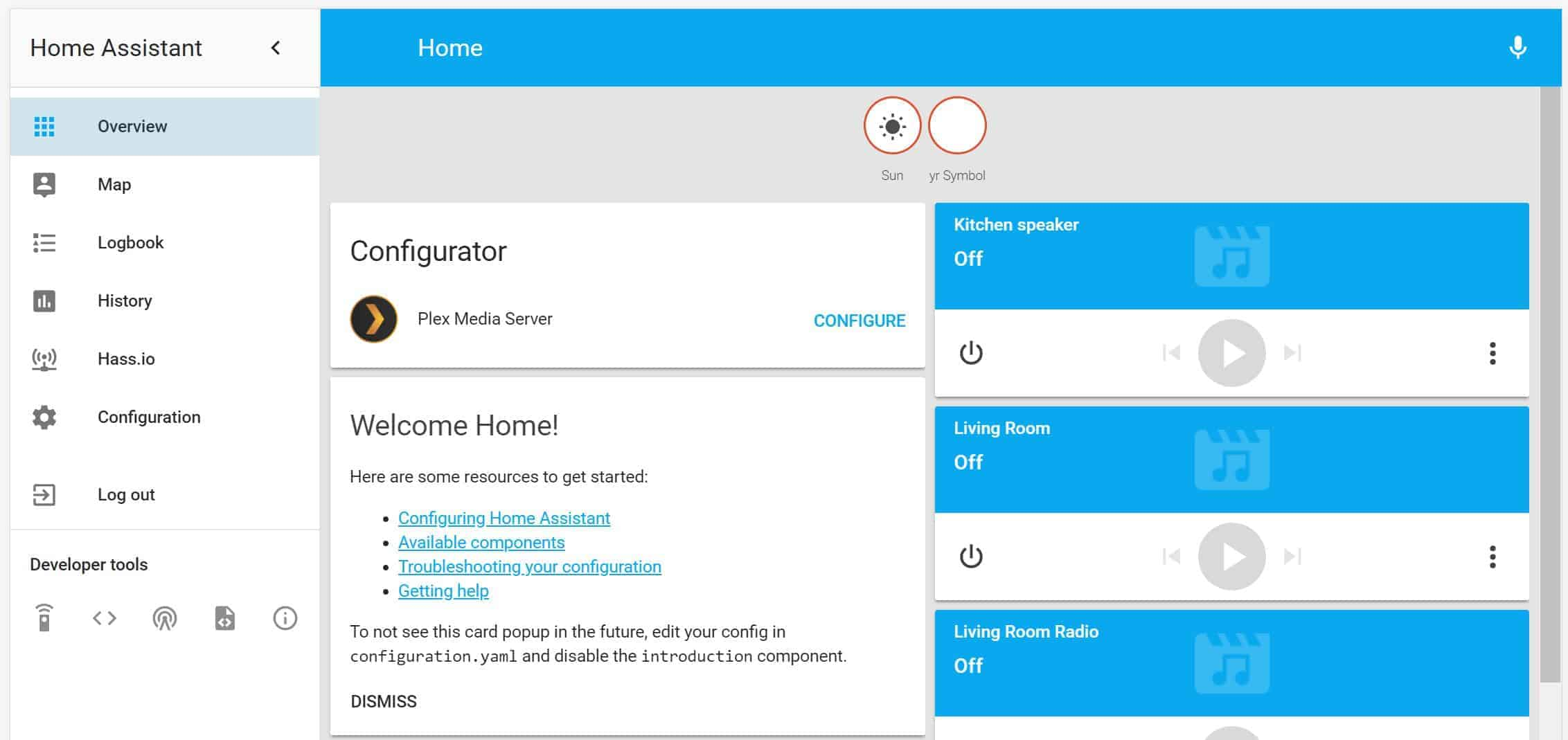 Accessing the Home Assistant for the first time