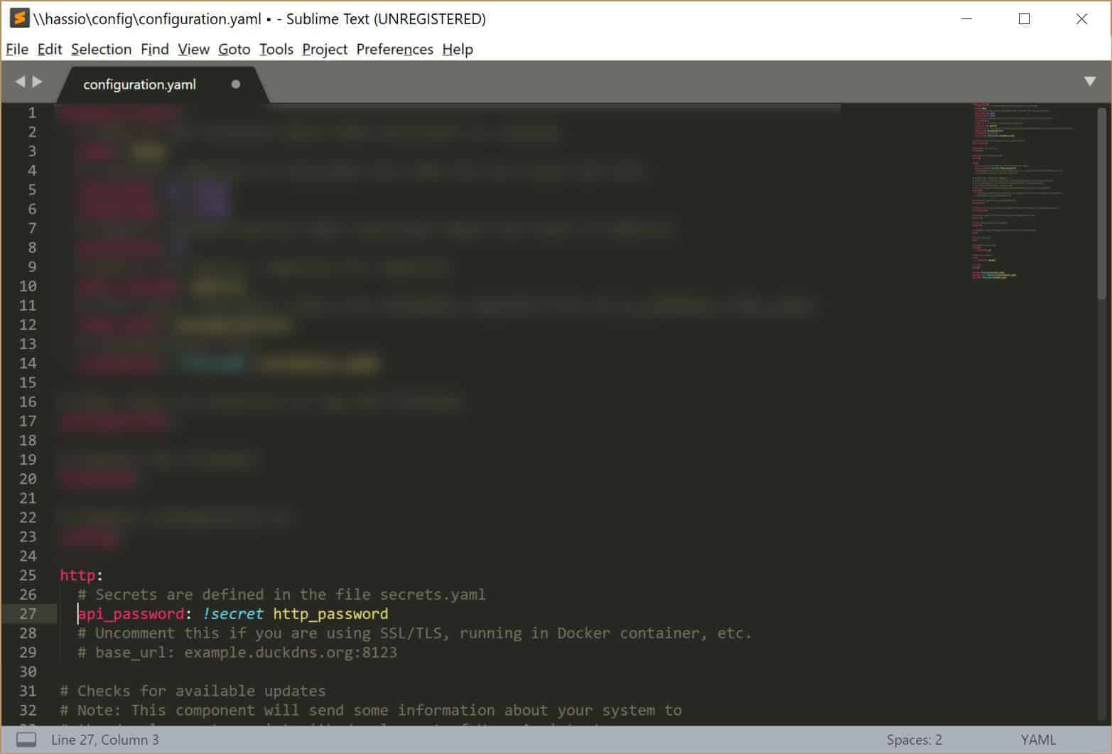 Setting the Home Assistant password in the configuration.yaml file