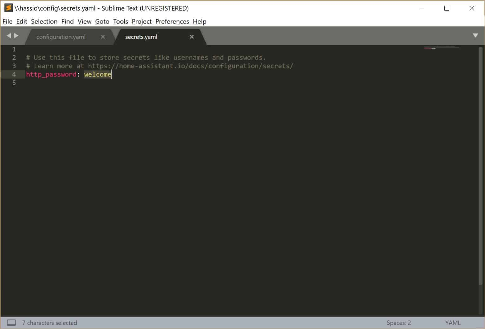 Setting the Home Assistant password in the secrets.yaml file