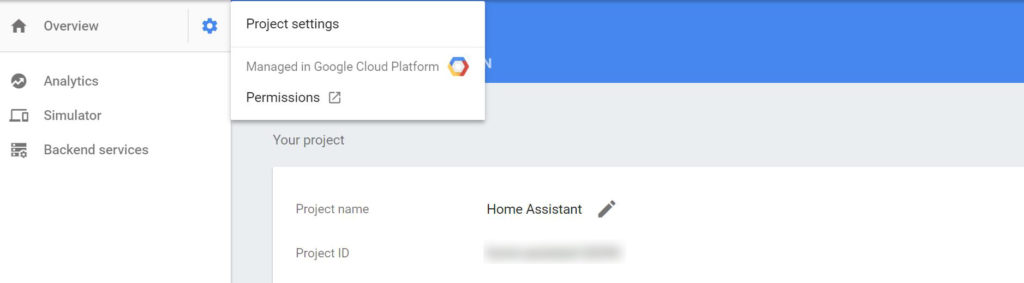 The Project ID for Home Assistant