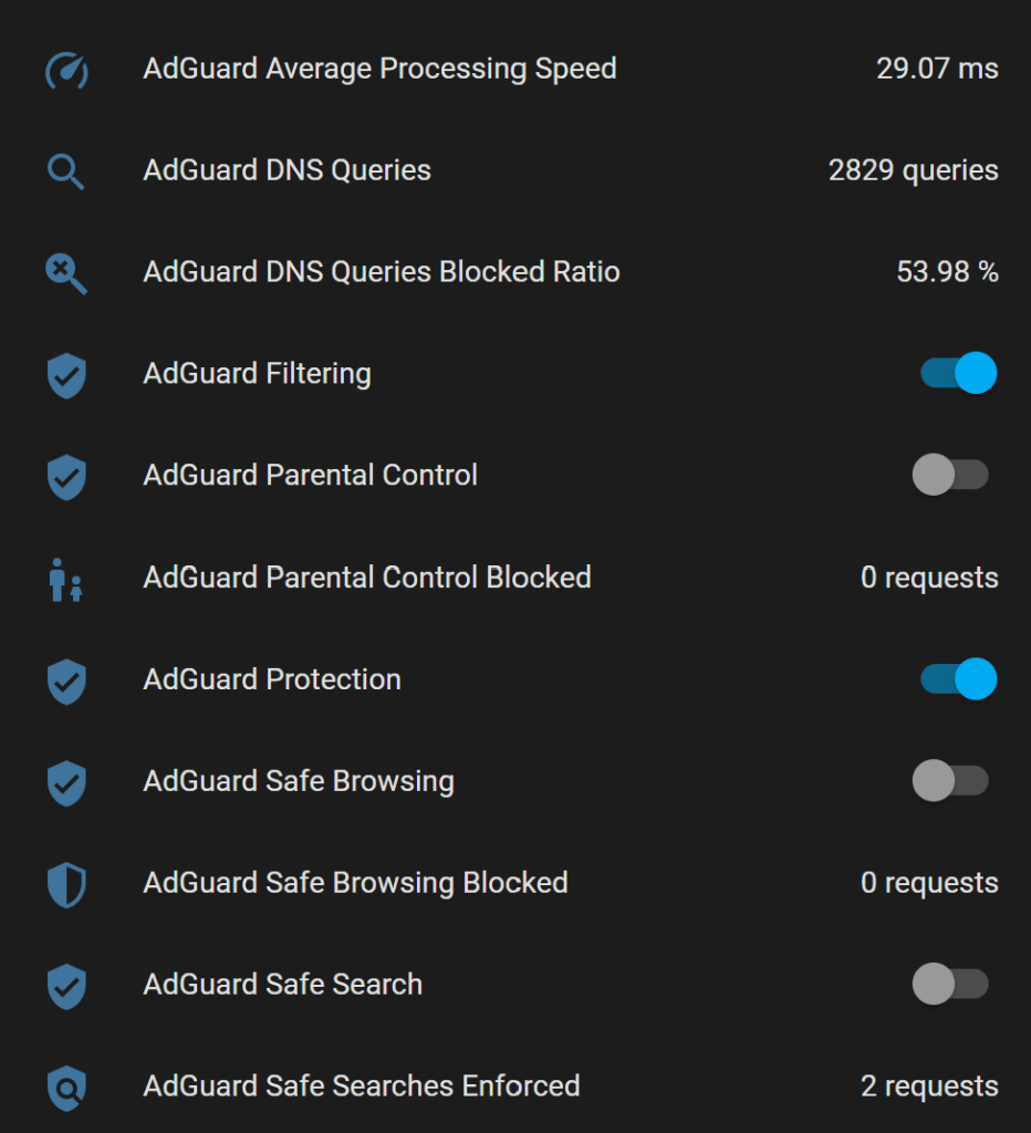 AdGuard Home switches and sensors in Home Assistant