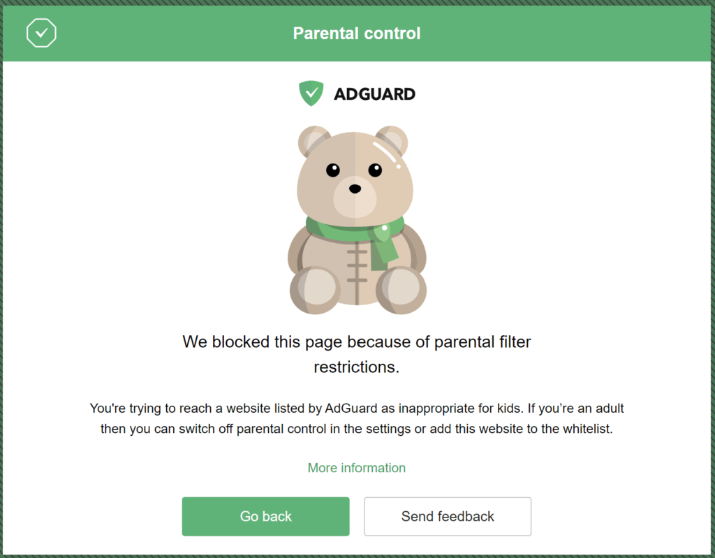 A website blocked by AdGuard Home parental controls