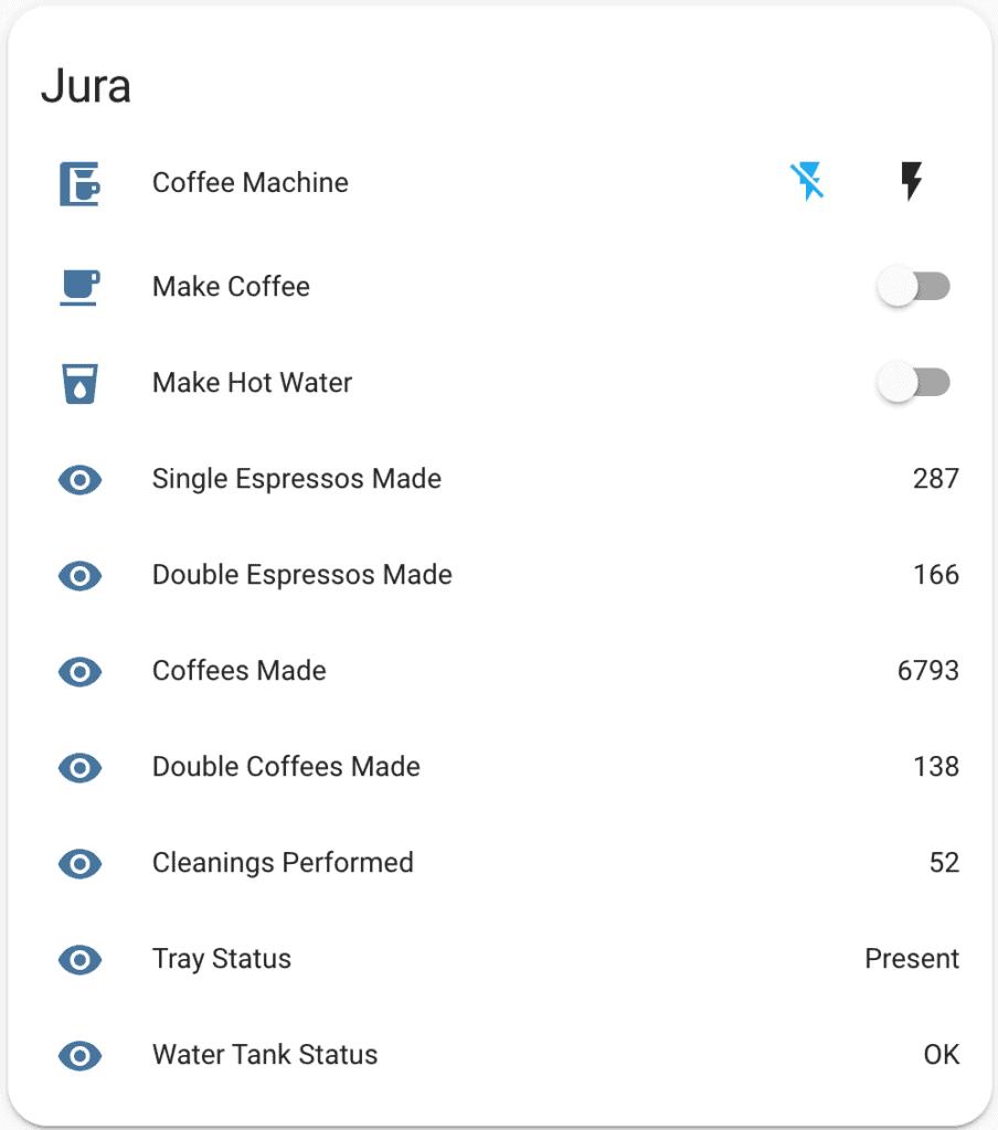Controlling a Jura coffee machine in Home Assistant