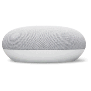 A Google Nest Mini integrated with Home Assistant