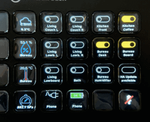 Home Assistant switches and sensor on an Elgato Stream Deck