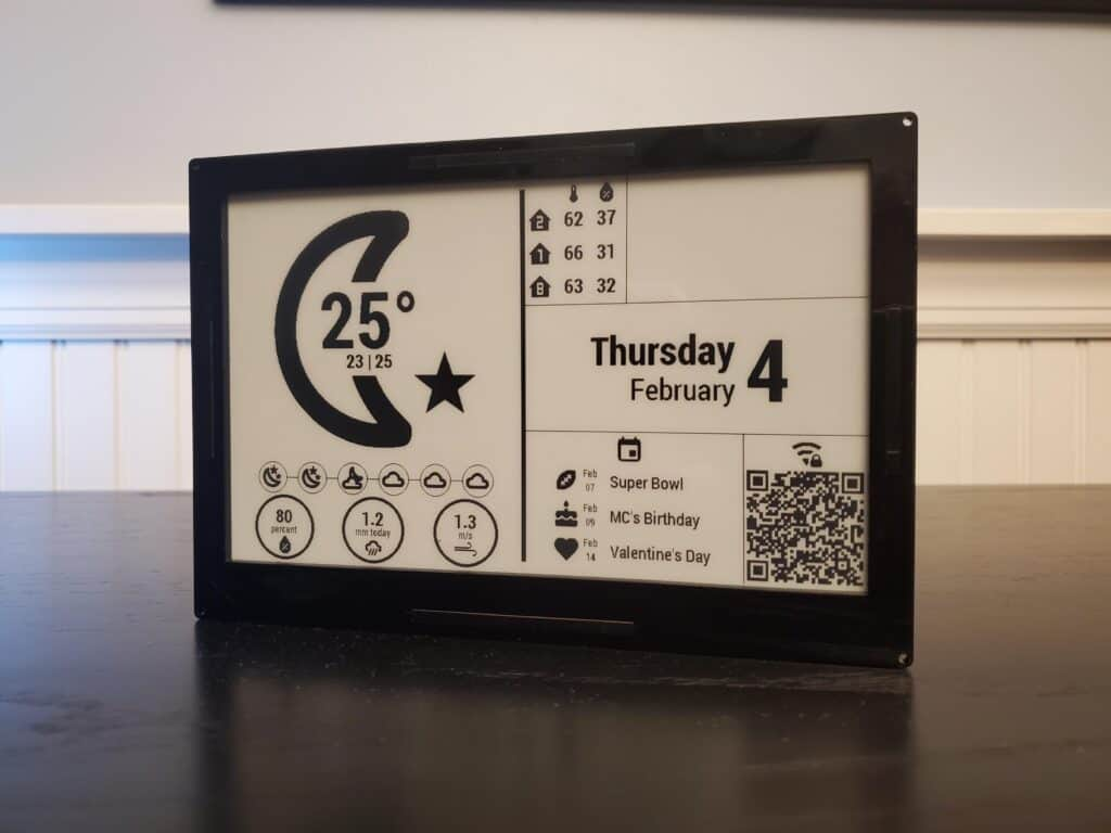 The notification display using a Waveshare e-paper display and powered by ESPHome