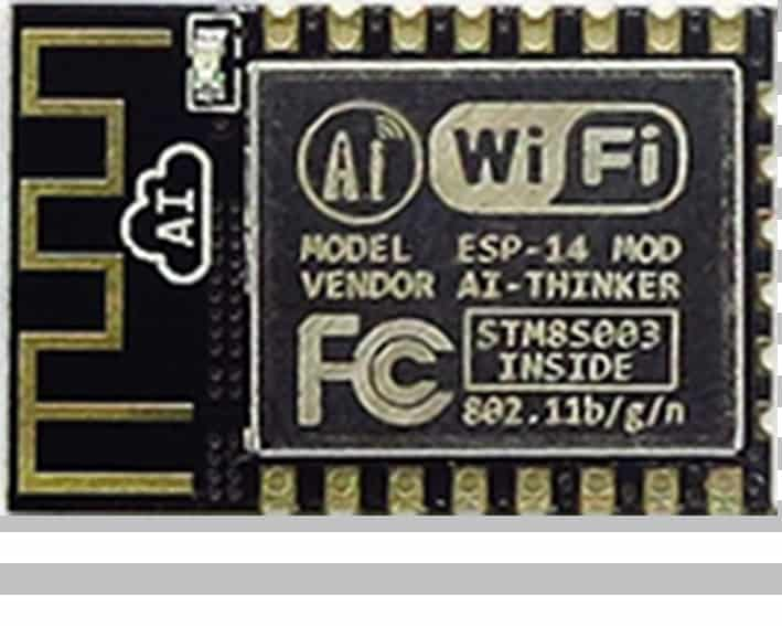 The ESP-14 module with an ESP8266 from Ai-Thinker