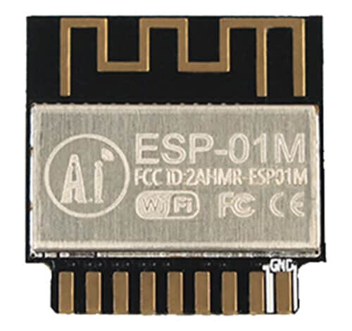 The top side of the the ESP-01M showing the shielding
