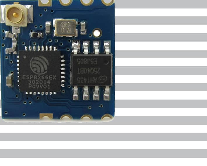 The ESP-02 module with an ESP8266 from Ai-Thinker