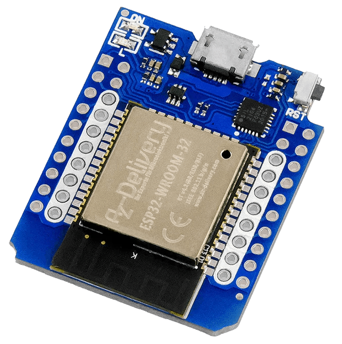 An ESPHome-compatible mini ESP32 board with two rows of GPIO pins on either side.
