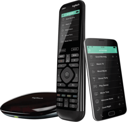 A discontinued Logitech Harmony universal remote