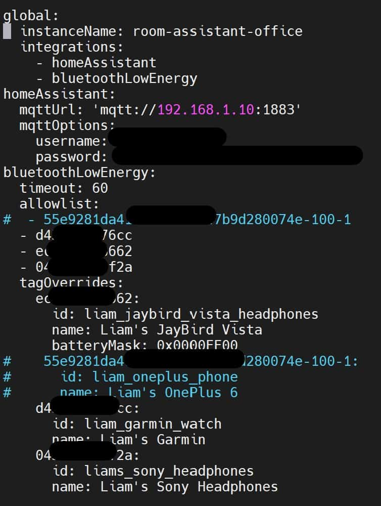 room-assistant set up using YAML code
