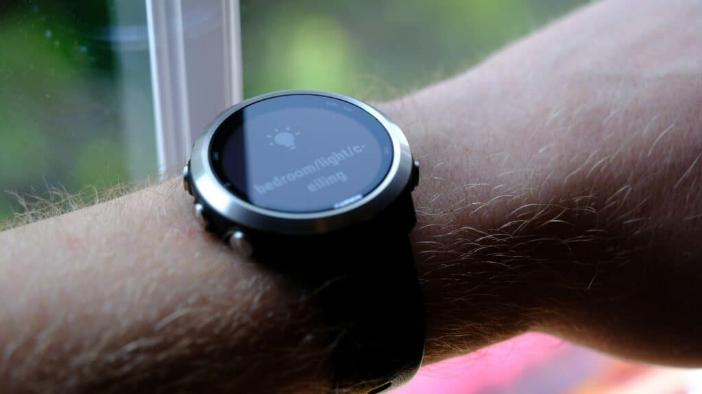 A Garmin sport watch controlling Home Assistant