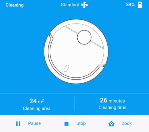 The Vacuum Card Lovelace card for Home Assistant when the robot vacuum is cleaning