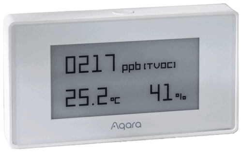 The Aqara TVOC Air Quality Monitor with Zigbee 3.0 that is compatible with Home Assistant using ZHA or Zigbee2MQTT