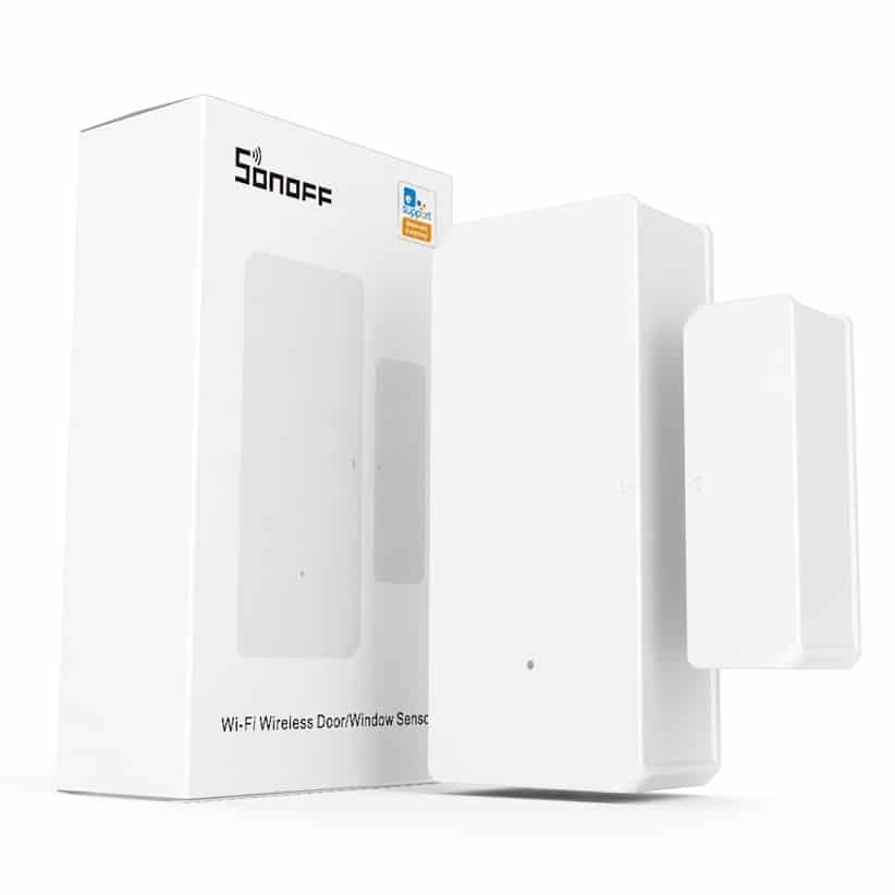 The SONOFF DW2-WI-FI Wireless Door Window Sensor and its packaging.