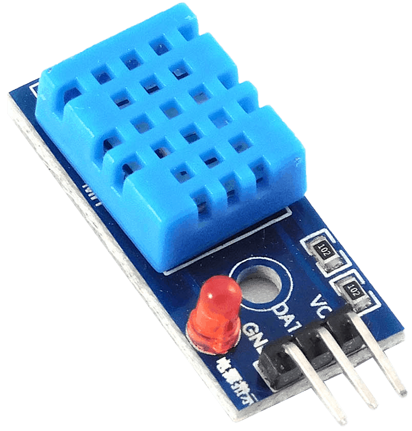 The DHT11 temperature and humidity sensor, which is no longer recommended for use with ESPHome.