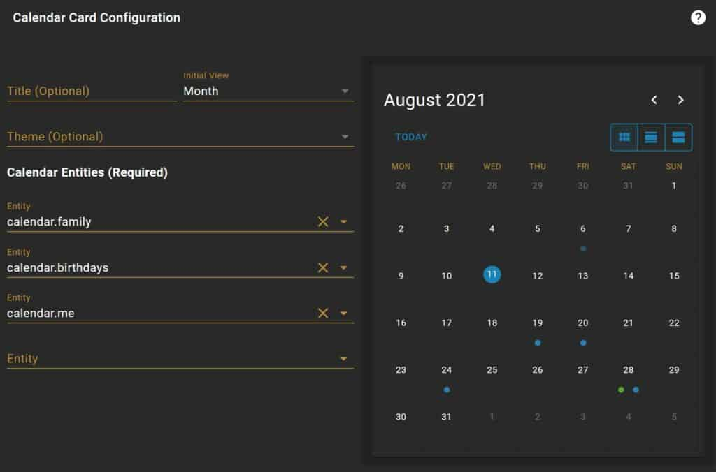 The configuration options for the Calendar Card in Home Assistant.