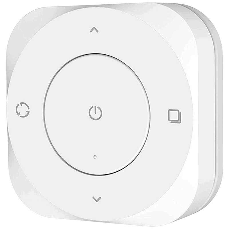 The Linkind 5-Key Smart Tap Switch uses Zigbee and can be integrated with Home Assistant using Zigbee2MQTT.