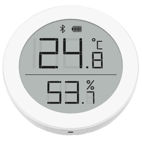 The Qingping Cleargrass Bluetooth thermometer, hygrometer, and clock that can be integrated with Home Assistant using ESPHome on an ESP32.