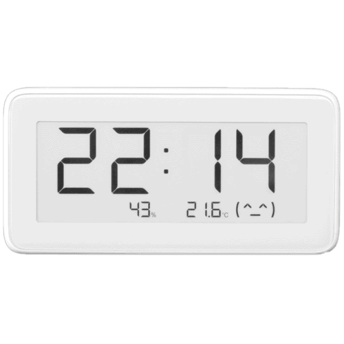 The Xiaomi LYWSD02 Bluetooth thermometer, hygrometer, and clock that can be integrated with Home Assistant using ESPHome on an ESP32.