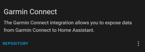 The Garmin Connect custom component in the Home Assistant Community Store.