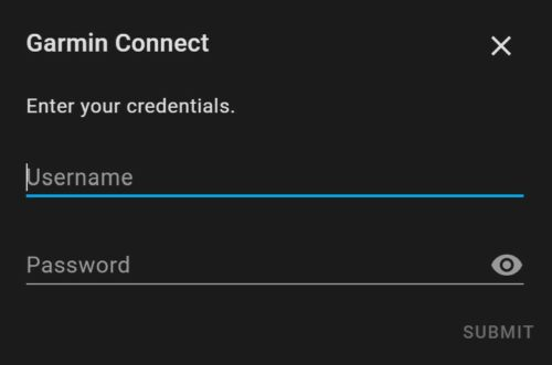 Two fields allowing a Home Assistant user to enter their Garmin Connect username (email) and password.